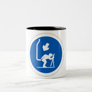 Chair Lift Sign, Andorra Two-Tone Coffee Mug