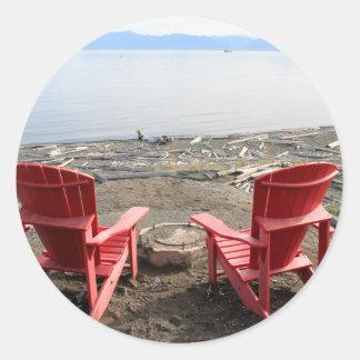 chairs on beach classic round sticker