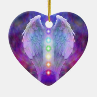 chakra,angel,healer,healing from god,angels,love, Double-Sided heart ceramic christmas ornament