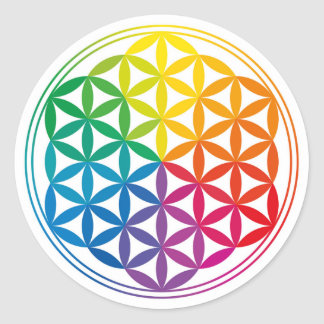 Chakra Flower Of Life Grid Classic Round Sticker