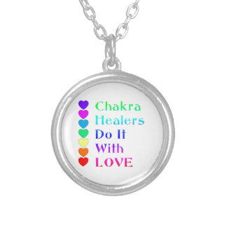 Chakra Healers Do It With Love in Rainbow Colors Silver Plated Necklace