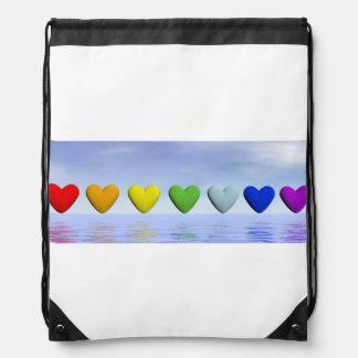 Chakra hearts - 3D render Drawstring Bag