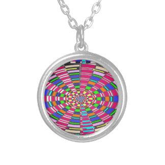 Chakra Mandala Circle Round Circular Colorful ART Silver Plated Necklace