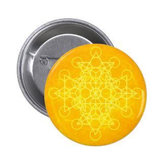Chakra Mandala Sacred Geometry Bright Yellow Button