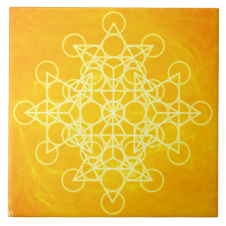 Chakra Mandala Sacred Geometry Bright Yellow Tile