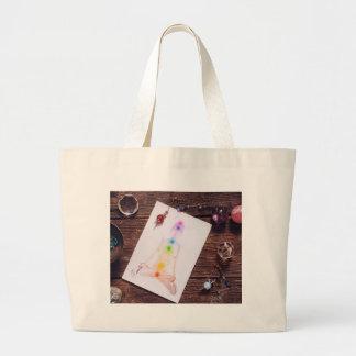 chakras and balance large tote bag