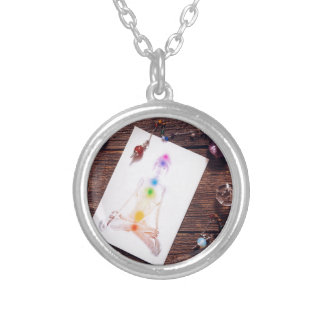 chakras and balance silver plated necklace