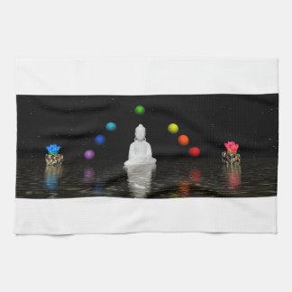 chakras and buddha tea towel
