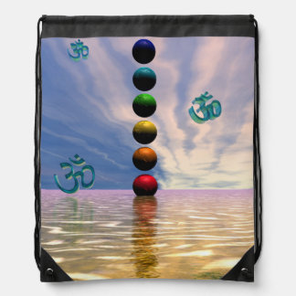 chakras and clouds drawstring bag