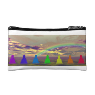 chakras and colors and sky puple yellow cosmetics bags