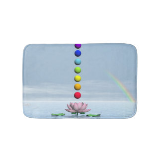 Chakras and rainbow - 3D render Bath Mat