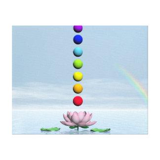 Chakras and rainbow - 3D render Canvas Print