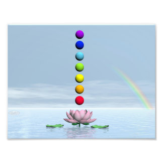 Chakras and rainbow - 3D render Photo Print