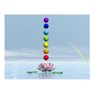 Chakras and rainbow - 3D render Postcard