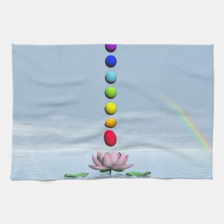 Chakras and rainbow - 3D render Tea Towel