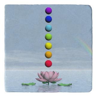 Chakras and rainbow - 3D render Trivet