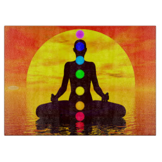 Chakras at sunset - 3D render Cutting Board