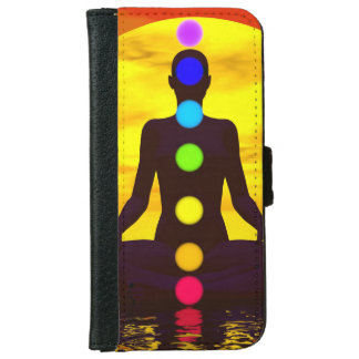 Chakras at sunset - 3D render iPhone 6 Wallet Case