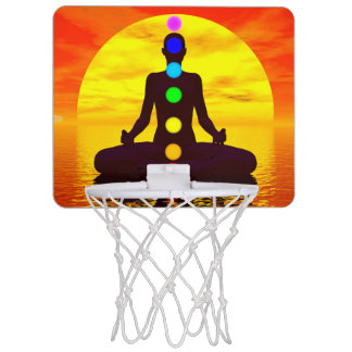Chakras at sunset - 3D render Mini Basketball Hoop