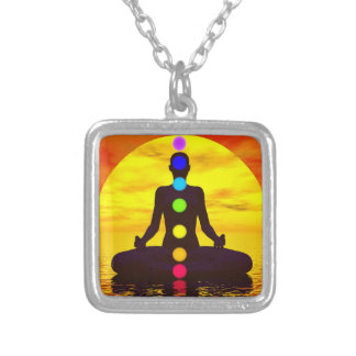 Chakras at sunset - 3D render Silver Plated Necklace