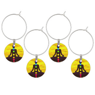 Chakras at sunset - 3D render Wine Charms