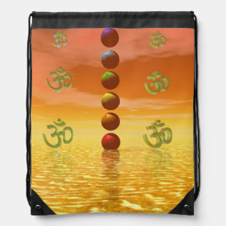 chakras orange drawstring bag