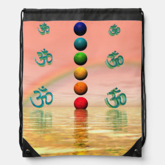chakras pink drawstring bag
