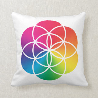 Chakras Rainbow Seed of Life Symbol Cushion