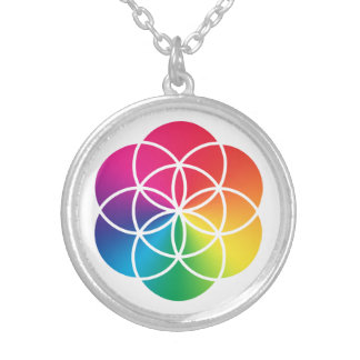 Chakras Rainbow Seed of Life Symbol Silver Plated Necklace