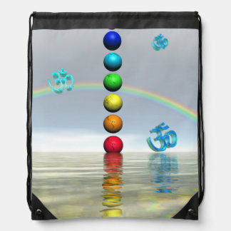 chakras white drawstring bag