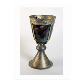 Chalice with jewels and an inscription on the bord postcard