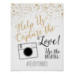 Chalk and Glitter Wedding Hash Tag Sign Poster