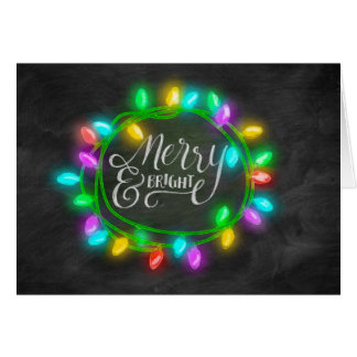 Chalk Board Drawn Multi Merry and Bright Holiday Card