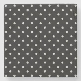 Chalk dot classic black and white pattern stone coaster
