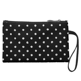 Chalk dot classic black and white pattern wristlet clutches