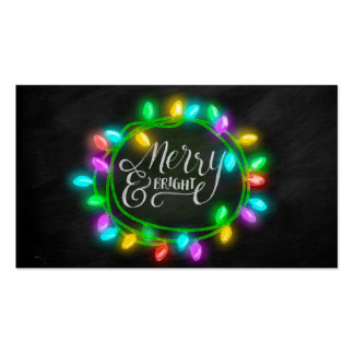 Chalk Drawn Merry and Bright with Lights Pack Of Standard Business Cards