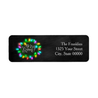 Chalk Drawn Merry and Bright with Lights Return Address Label