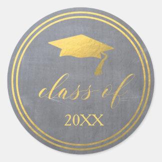 Chalk & Faux Gold Foil | Graduation Envelope Seal Round Sticker