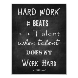 Chalk Inspirational quote about talent and success Poster