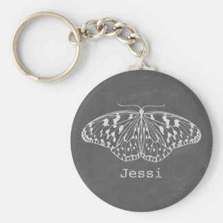 Chalk Inspired Butterfly Personalized Keychain