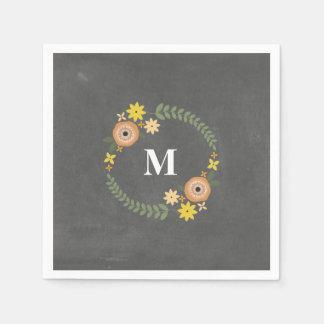 Chalk Inspired Monogram Wreath Wedding Napkins Disposable Serviette