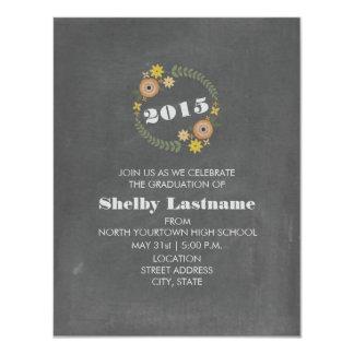 Chalk Inspired Orange Floral 2015 Graduation 11 Cm X 14 Cm Invitation Card