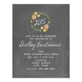 Chalk Inspired Orange Floral 2015 Photo Graduation 4.25x5.5 Paper Invitation Card