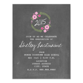 Chalk Inspired Pink Floral 2015 Photo Graduation 11 Cm X 14 Cm Invitation Card