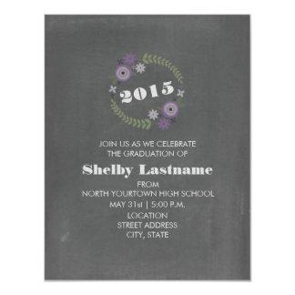 Chalk Inspired Purple Floral 2015 Graduation 11 Cm X 14 Cm Invitation Card