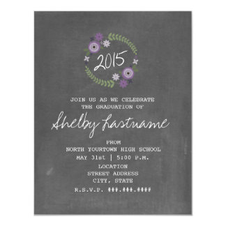 Chalk Inspired Purple Floral 2015 Photo Graduation 11 Cm X 14 Cm Invitation Card