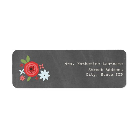 Chalk Inspired Red & Blue Floral Return Address Label