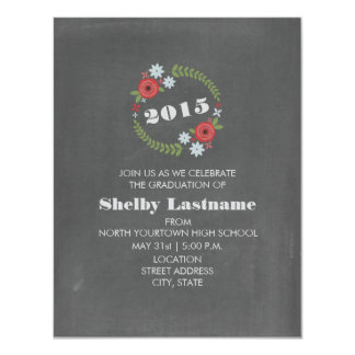 Chalk Inspired Red + Blue Floral Wreath Graduation 4.25x5.5 Paper Invitation Card