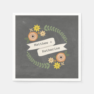 Chalk Inspired Wreath Wedding Napkins Paper Napkins
