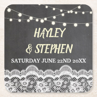 Chalk Lace Coasters Rustic Wedding Party Lights